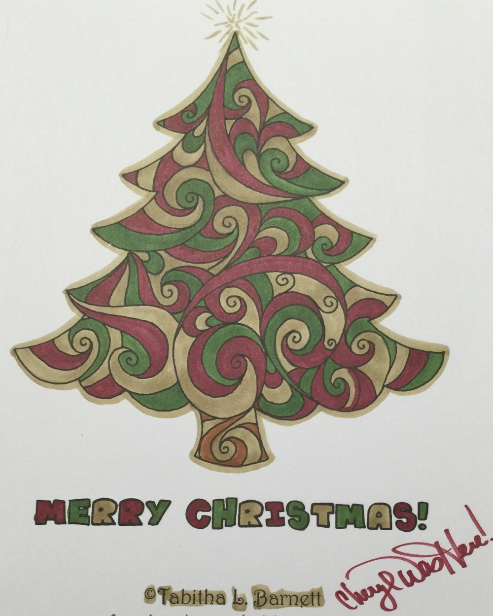 Tabitha Barnett Christmas holiday coloring page for adults