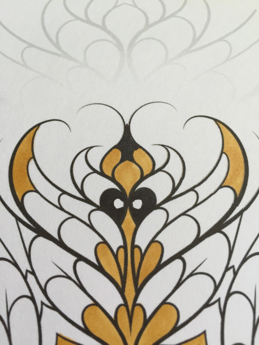 dicebird mandala coloring yellow copic pens