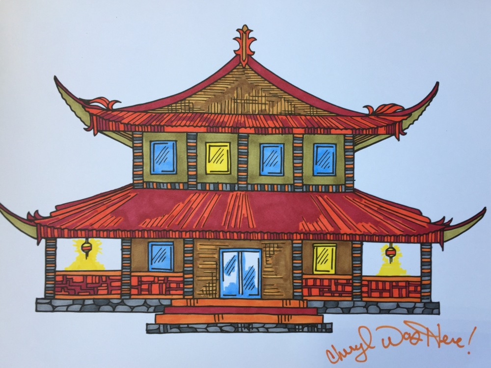 Japanese pagoda from MartiJo's Coloring Books