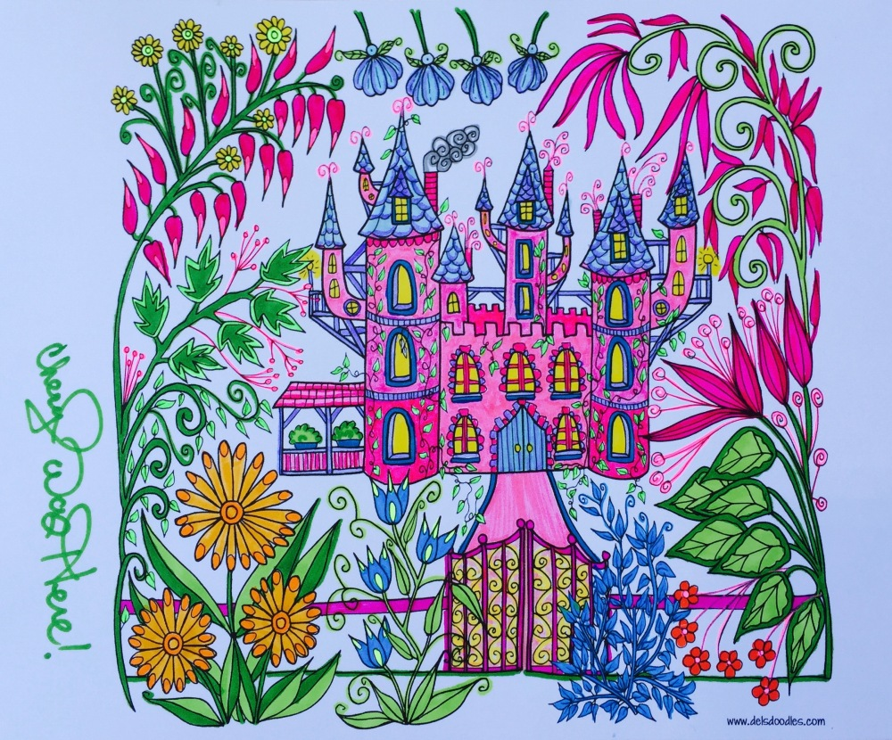 Cheryl Colors Pink fairy castle by Dels Doodles