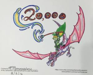 #mommacolors Samantha Deckers 20,000 Member Milestone Dragon Image