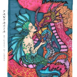 #barbaranncolors #20000 Mermaid and Dragon Adult Coloring Art by Casey Gilmore
