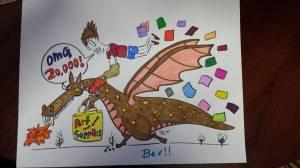 Bev Barske Colors Paul Summerfield's 20,000 Member Milestone Dragon Image