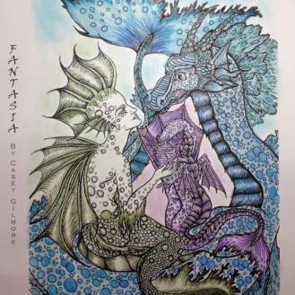 #dinacolors #20000 Mermaid and Dragon Adult Coloring Art by Casey Gilmore