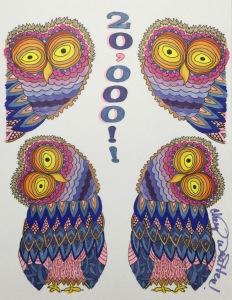 #cherylcolors #20000 Owl Adult Coloring Artwork by Martha Stevenson
