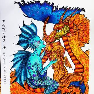 #ShereeColors #20000 Mermaid and Dragon Adult Coloring Art by Casey Gilmore