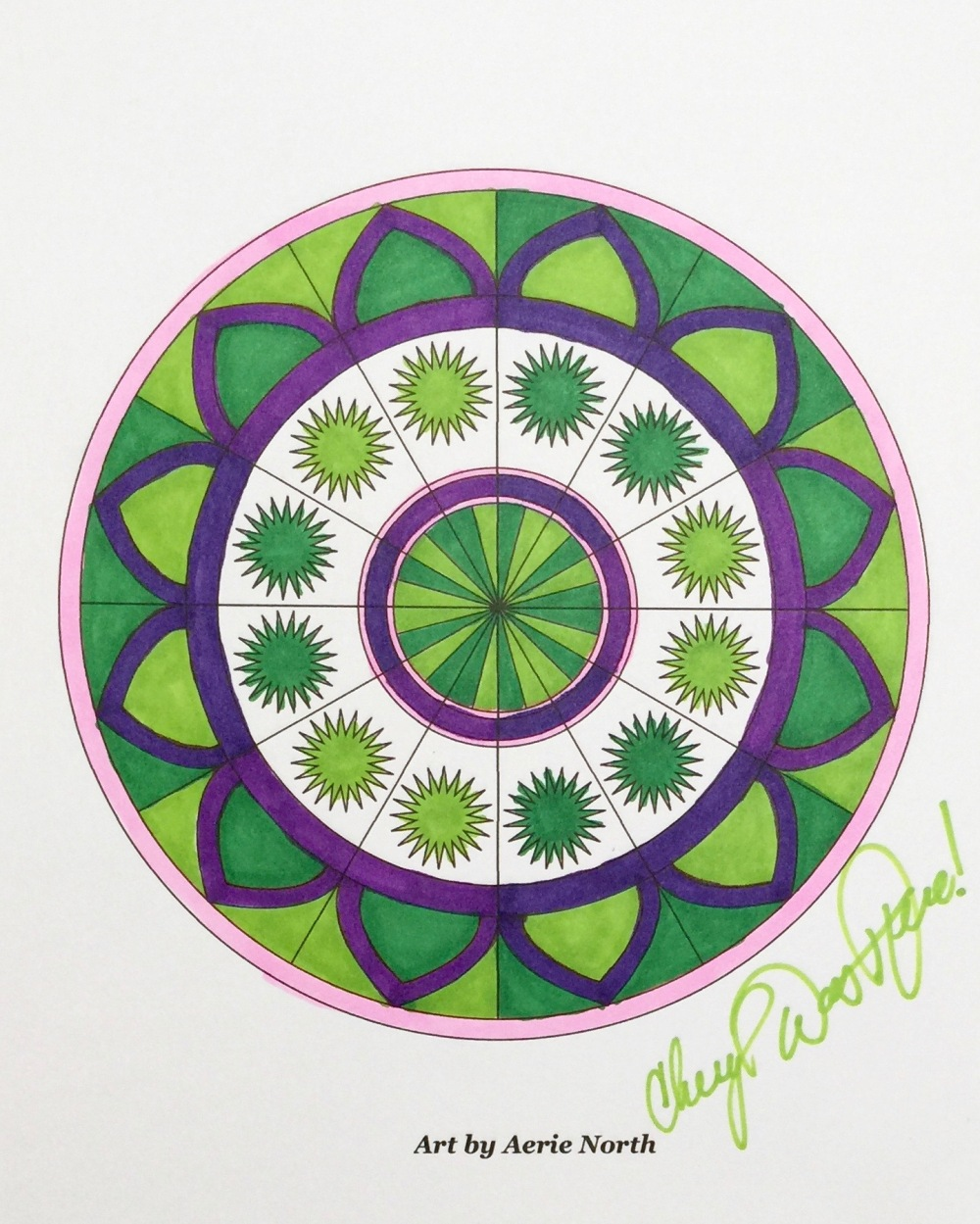 http://www.aerienorth.com Aerie North mandala art teacher coloring book artist